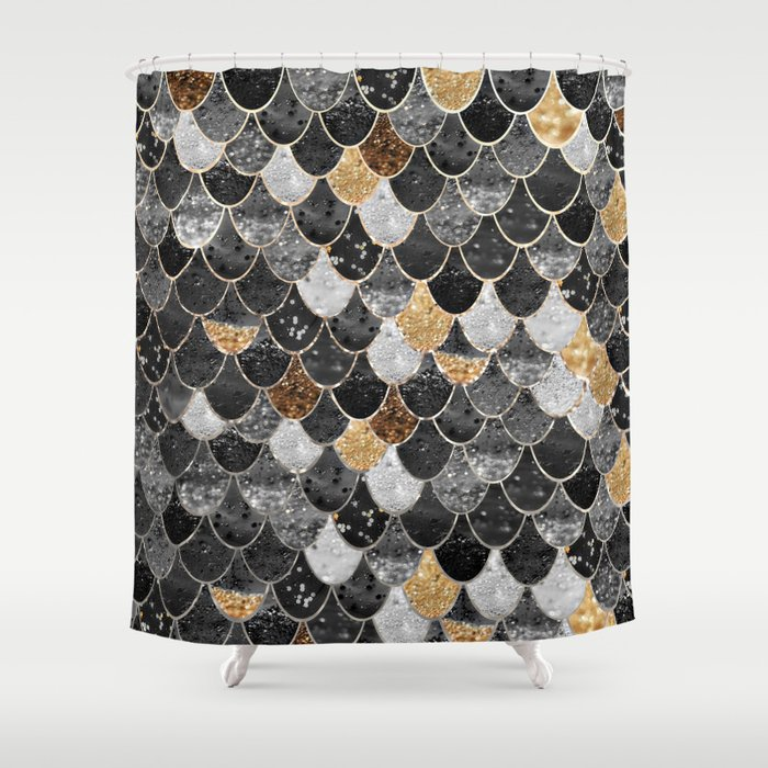 REALLY MERMAID BLACK GOLD Shower Curtain By Monikastrigel