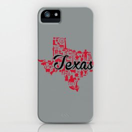 University of  Houston -Texas Landmark State - Red and Gray UH Theme iPhone Case