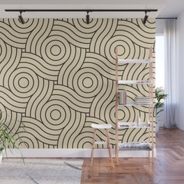 Circle Swirl Pattern Valspar America Wood Yellow - Homey Cream - Glow Home Wall Mural