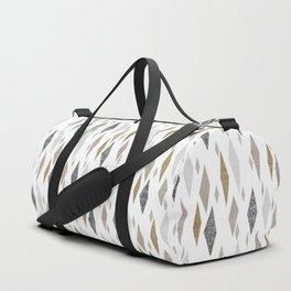 Danish Diamond Mid-Century Geometric Print Tan Duffle Bag