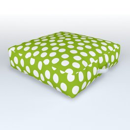 White Polka Dots on Fresh Spring Green - Mix & Match with Simplicty of life Outdoor Floor Cushion