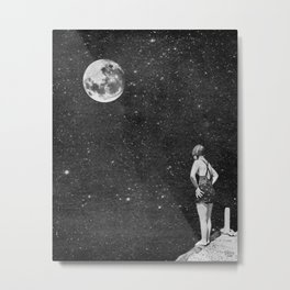 Spacewoman & The Pier Into Space Metal Print