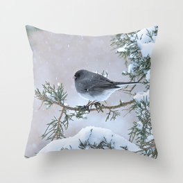 Snow Day Junco Throw Pillow