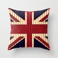 british flag Throw Pillows featuring BRITISH FLAG by shannon's art space