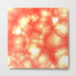 Gentle intersecting orange translucent circles in pastel shades with glow. Metal Print