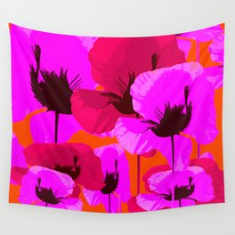 Pink And Red Poppies On A Orange Background - Summer Juicy Color Palette - Retro Mood Wall Tapestry