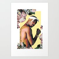 tupac Art Prints featuring Tupac Floral by POSH OUTSIDERS