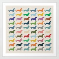 dachshund Art Prints featuring Dachshund by Opul