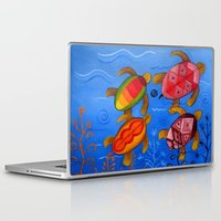 swimming Laptop & iPad Skins featuring Swimming by Montes Arte Mexicano