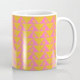 Geometric Triangle Pattern in Sunny Yellow and Neon Pink Coffee Mug