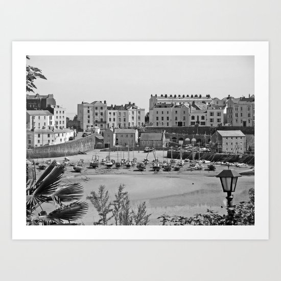 Tenby Harbour. Black+White. Reflection. Art Print