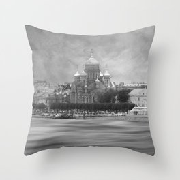 View from the Neva b&w Throw Pillow