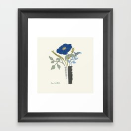 Blue Poppy in Grey Vases Framed Art Print