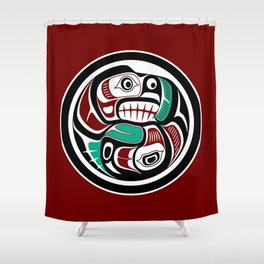 Northwest Pacific coast Otter chasing Salmon Shower Curtain