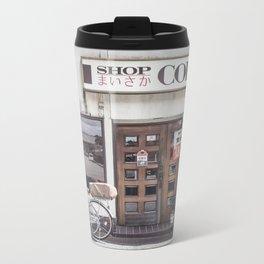 Bike and Coffee Shop in Kyoto Metal Travel Mug