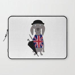 Brit Weim British Grey Ghost Weimaraner Dog Hand-painted Pet Drawing Laptop Sleeve