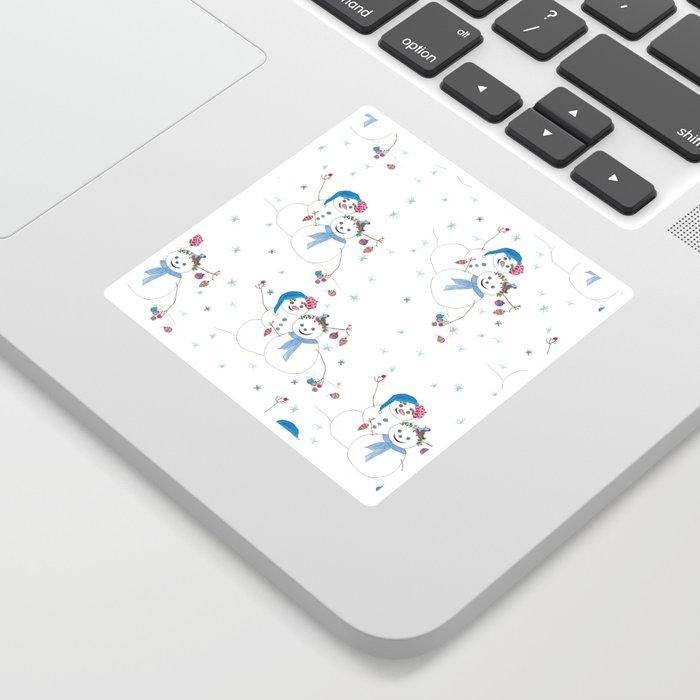 Christmas Snowman Couple with Bird friend Sticker