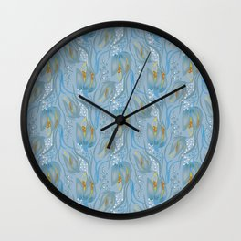 Seamless Flower  Pattern. Summer background garden in vintage style Wall Clock