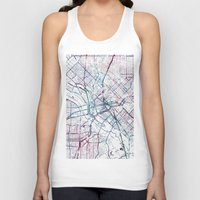 dallas Tank Tops featuring Dallas map by MapMapMaps.Watercolors