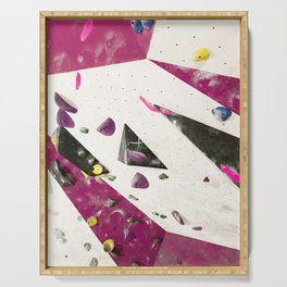 Maroon climbing wall boulders bouldering gym abstract geometric print Serving Tray