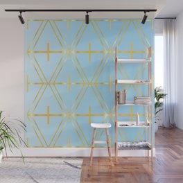 Golden Blue Fretwork Wall Mural
