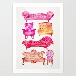 Victorian Lounge – Pink Palette Art Print