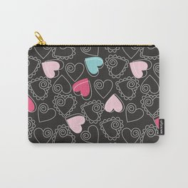 Valentine Black Pattern With Pink And Blue Hearts Carry-All Pouch