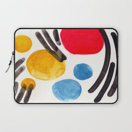 Mid Century Modern Abstract Juvenile childrens Fun Art Primary Colors Watercolor Minimalist Pop Art Laptop Sleeve