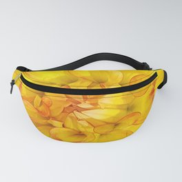 A Yellow Dahlia with Pink tips Close Up Detail Fanny Pack