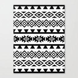 Aztec Stylized Lg Pattern II BW Canvas Print