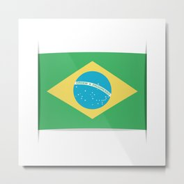 Flag of Brazil. The slit in the paper with shadows. Metal Print
