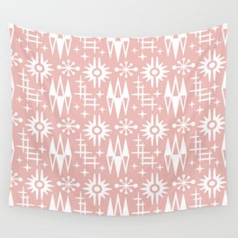 Mid Century Modern Atomic Space Age Pattern Dusty Rose Wall Tapestry