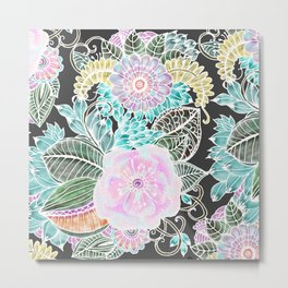 Hand painted black pink teal white green watercolor floral Metal Print
