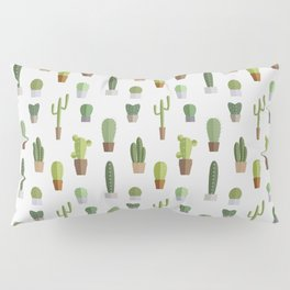 Seamless pattern with various cactuses in pots Pillow Sham