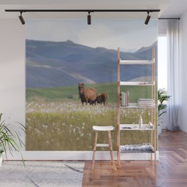 Watercolor Horse 15, Icelandic Pony, Höfn, Iceland, Me and the Baby Wall Mural