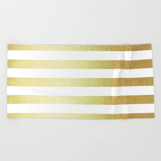 Simply Striped 24K Gold Beach Towel