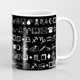 Wingdings Symbols Black Background White Font Coffee Mug