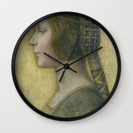 Golden woman - Leonard Da Vinci Wall Clock