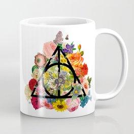 Floral Deathly Hallows - Black Coffee Mug