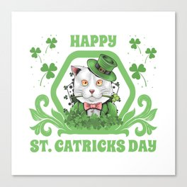 Funny Cat St Patricks Day 2020 Fun Gift Leprechaun Canvas Print