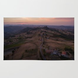 emilia romana campagnolo italy farming drone aerial view shot road Rug