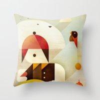 birdman Throw Pillows featuring Birdman by Squizzato