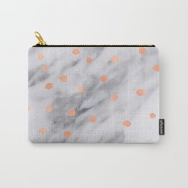 Rose Gold Pink Dots Marble Pattern Carry-All Pouch