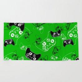 Video Game Green Beach Towel