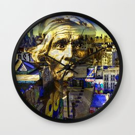 Ghost Tribe Native Americans in New York Yellow Wall Clock
