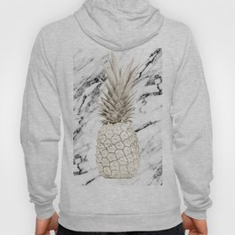 Pineapple Marble White Gold Painted Pineapple on Black and White Marble Hoody