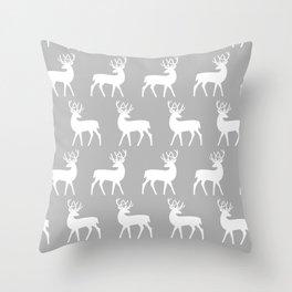 Mid Century Modern Deer Pattern Gray Throw Pillow
