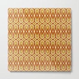 Ikat Teardrops in Rust, Yellow and Apricot Metal Print