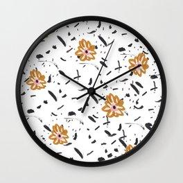 Daisy. Illustration, flowers, print, design, pattern, floral, fashion, drawing, Wall Clock