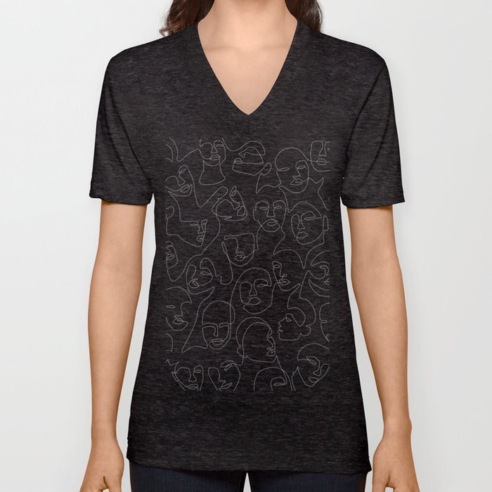 Face Lace Unisex V-Neck
